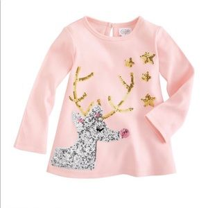 Mud Pie PINK REINDEER SPARKLE TUNIC Large 4T/ 5T
